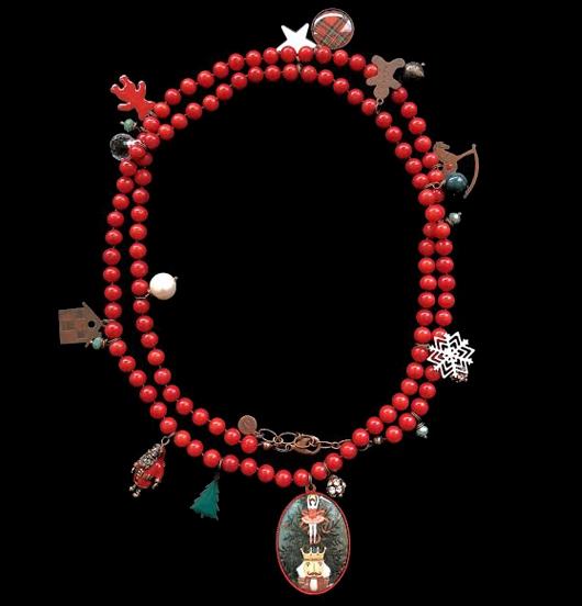 Collana Natalizia, collana rossa, per regalo di Natale, regalo vintage, regalo per amica, per Natale