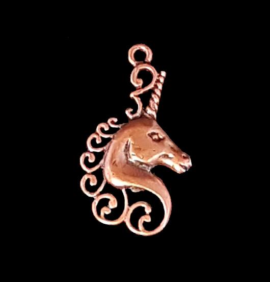 ciondolo in rame raffigurante un unicorno, per amanti delle fiabe, delle storie, degli unicorni, degli arcobaleni, della magia