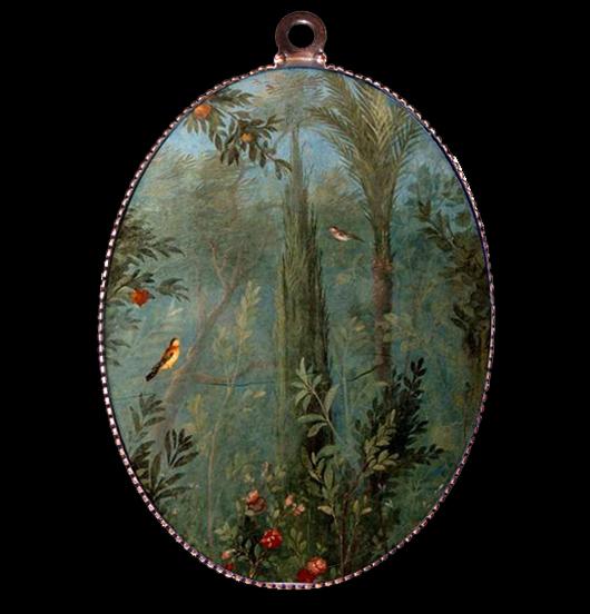 medaglione di porcellana con raffigurato un particolare di un affresco romano raffigurante la natura con gli uccellini, per amanti della natura, degli animali, degli affreschi antichi