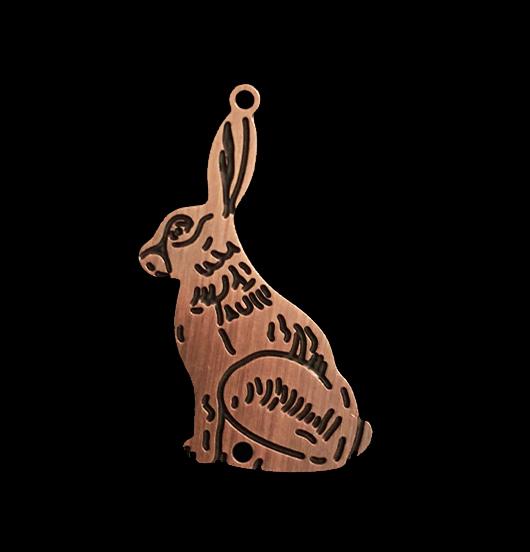 ciondolo in rame raffigurante una lepre, per amanti della natura, degli animali