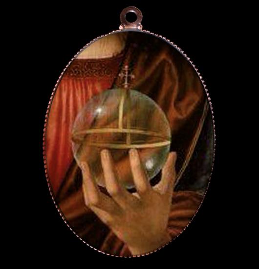 medaglione di porcellana con raffigurato un globo crucigero, per amanti del sacro, del medioevo, dei simboli religiosi