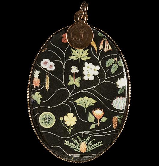 medaglione in porcellana con raffigurati simboli dell'erbario, per amanti della natura, dei fiori, delle piante