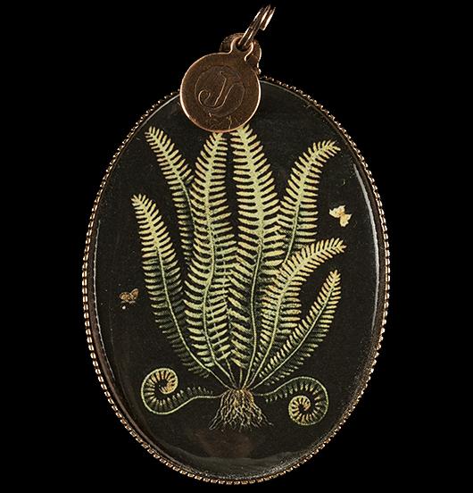 medaglione in porcellana con raffigurata una felce verde su sfondo nero, per amanti della natura, delle piante