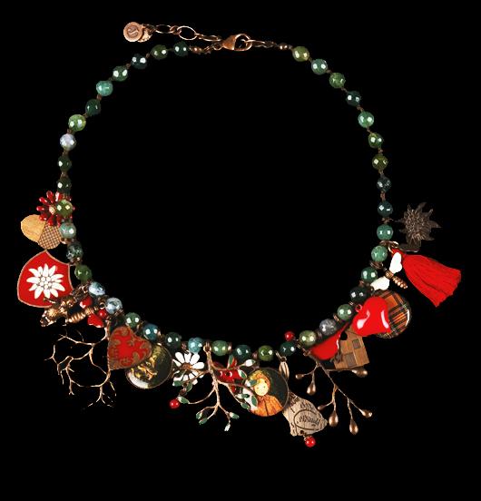 Collana/ bracciale in agata muschiata, annodata, della collezione Fabula, con ciondoli in rame, rame smaltato, porcellane, nappina in tessuto.